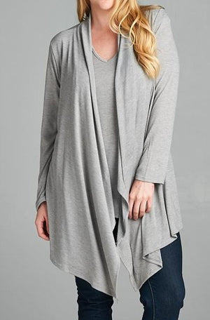 SIMPLY PERFECT 2 PCS SET CARDIGAN AND TANK TOP MATCH IN HEATHER GRAY