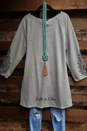 MY FANCY SWEATER TUNIC EMBELLISHED LACE SLEEVE IN SILVER GRAY [product vendor] - Life is Chic Boutique