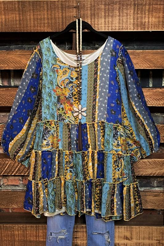 balydoll dress blue multi color
