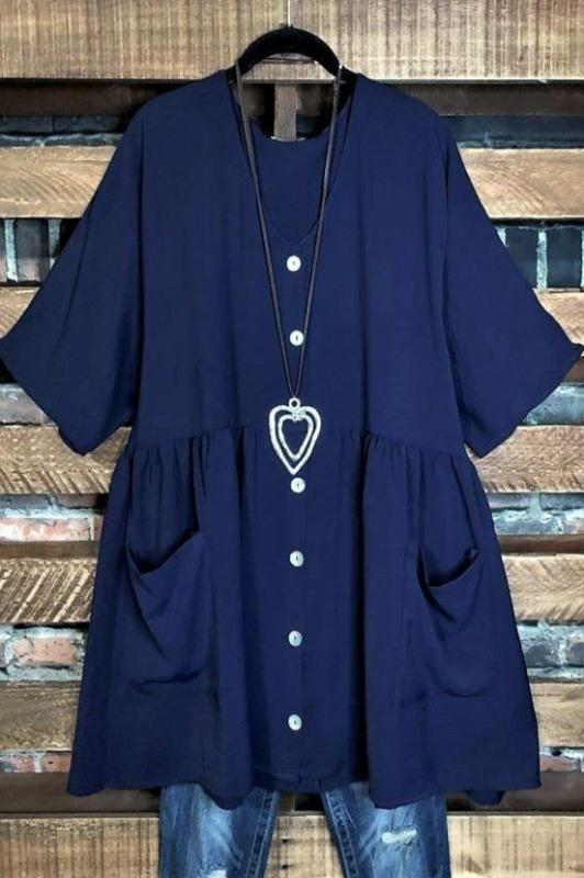 comfy patched pockets dress-navy blue
