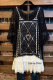 crochet sheer tunic black