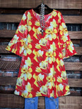 dress red coral floral plus size