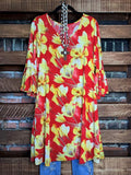 dress red floral boutique life is chic