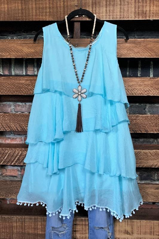 dress tunic aqua blue