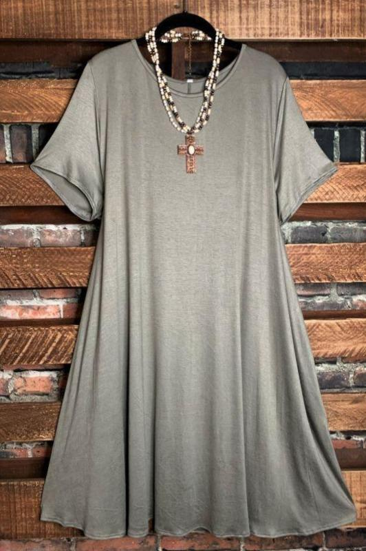 dress with pockets dusty olive 3x 4x 5x
