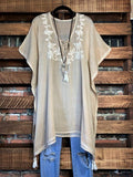 embroidered cotton tunic parchment plus size