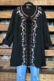 embroidered tunic black plus size