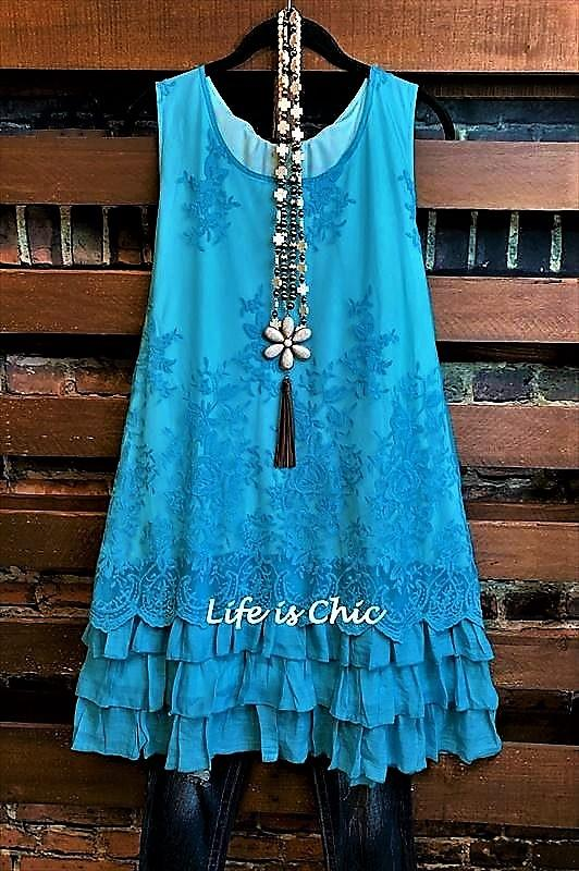 embroidered tunic turquoise