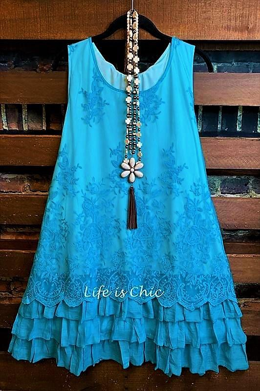 lace embroidered tunic turquoise xl 3x