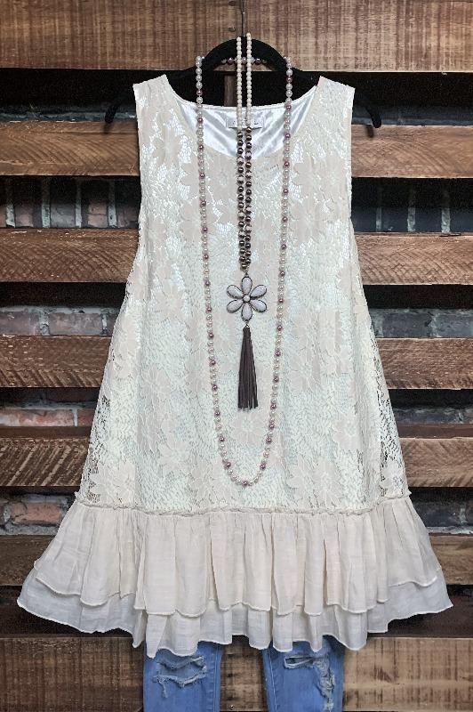 lace layering dress beige