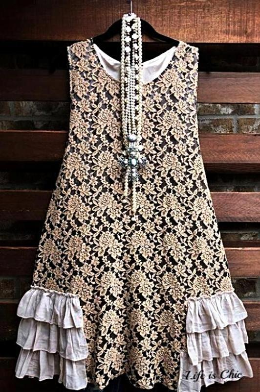 lace-layering dress taupe