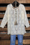 lace layering top-beige