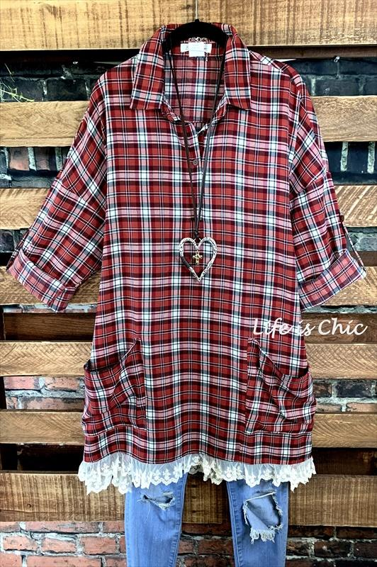 lace plaid tunic oversized crimson