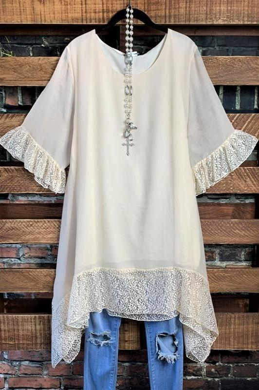 lace tunic beige