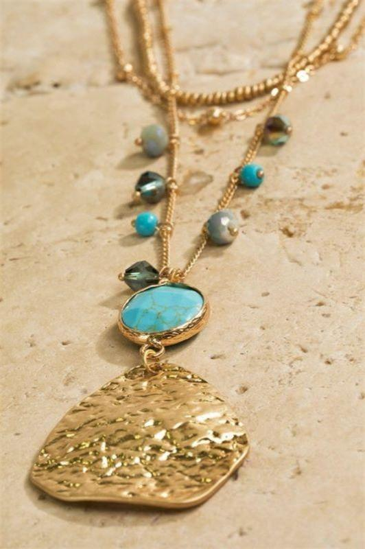 layered necklace turquoise