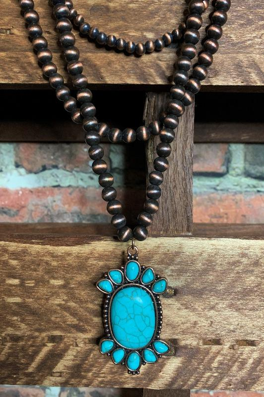 necklace copper turquoise