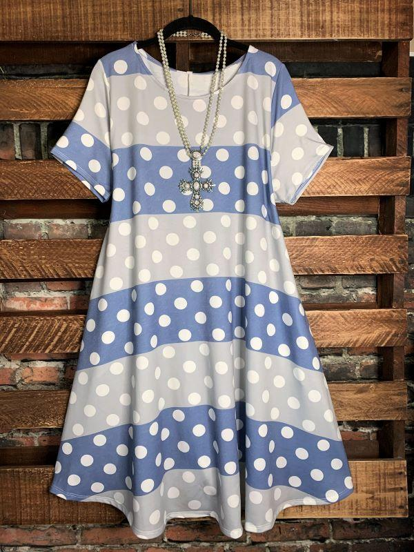 polka dot dress blue gray plus size