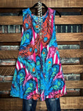 print mult color sleeveless dress boutique