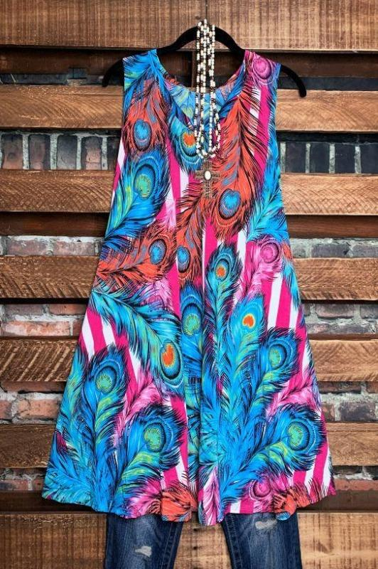 print mult color sleeveless dress plus size