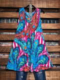 print mult color sleeveless dress
