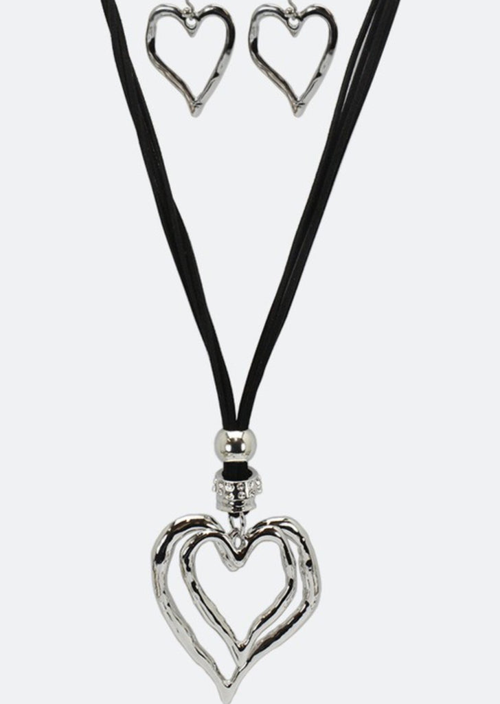 HEART ON HEART NECKLACE & EARRING SET-SILVER COLOR