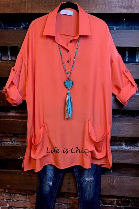 shirt tunic patched pockets coral