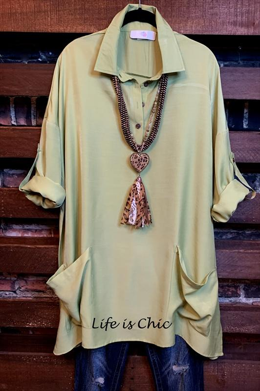shirt tunic with patched pockets green plus size