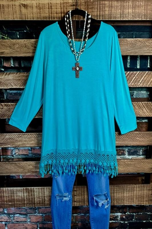 t shirt tunic fringe lace mint plus size