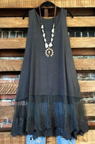 TOUCH OF MAGIC LACE SLIP DRESS TOP IN BLACK MIX 6-14
