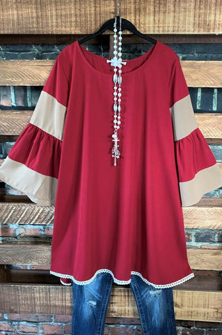 FOR YOUR HEART ONLY PRETTY T-TUNIC IN BURGUNDY & TAUPE  6-22 -----sale