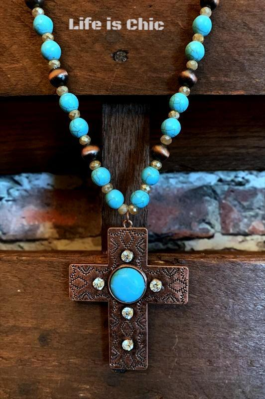 CROSS NECKLACE IN TURQUOISE