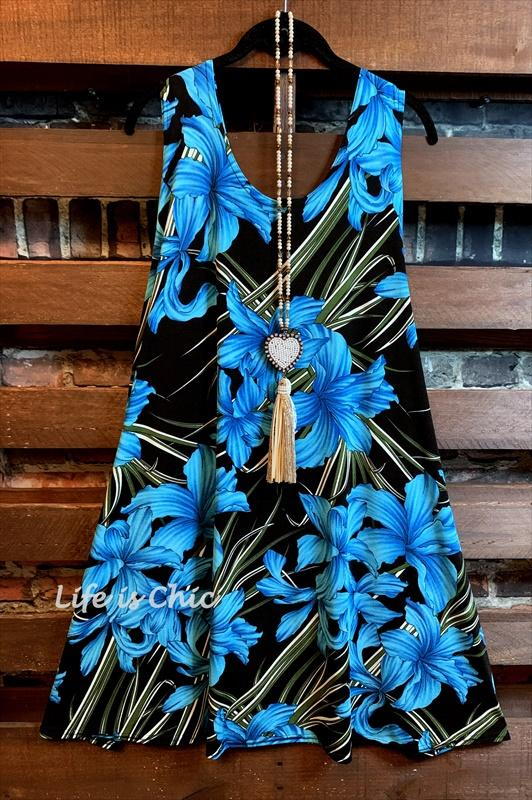 FLORAL FAB DRESS IN TURQUOISE MIX