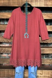 lace pretty t-shirt tunic marsala