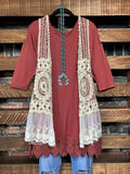 lace pretty t-shirt tunic marsala jacket
