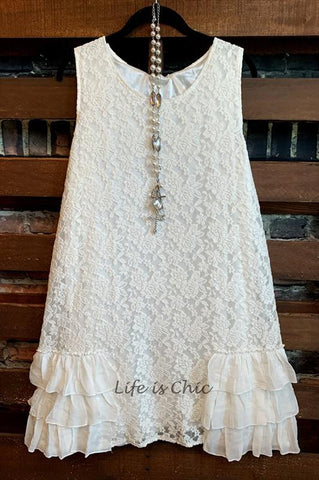 I'M ETERNALLY YOURS LACE LAYERING SLIP DRESS EXTENDER IN BEIGE