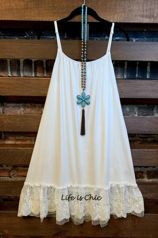 lace slip dress extender in white