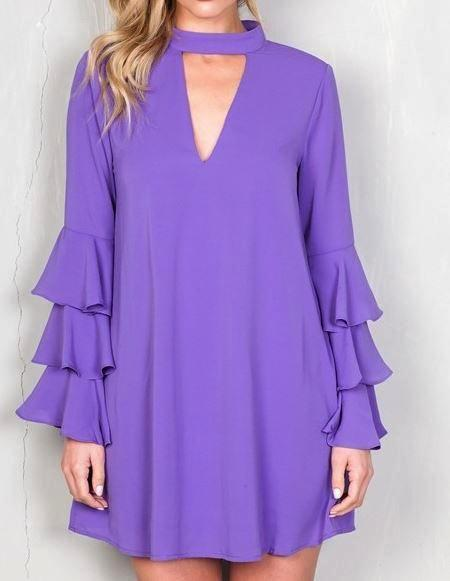 THIS ONE'S FOR YOU RUFFLE SLEEVE DRESS IN PURPLE [product vendor] - Life is Chic Boutique