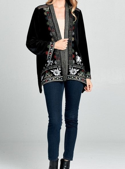 EMBROIDERED VELVET CARDIGAN KIMONO IN BLACK