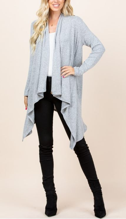 JUST LIKE THAT A SOFT CARDIGAN SWEATER IN HEATHER GRAY--REGULAR SZ ----sale