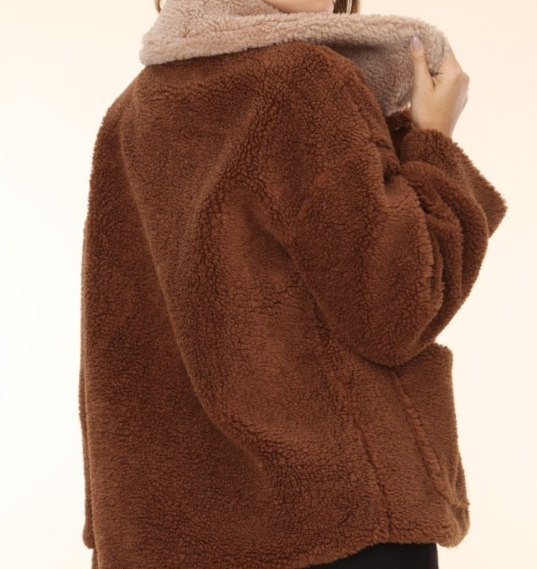 FIRESIDE COZY TEDDY POCKETED COAT JACKET IN BROWN