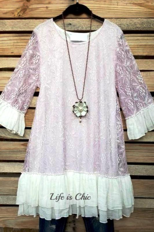 ALL THE LOVE I NEED LACE LAVENDER LACE TOP [product vendor] - Life is Chic Boutique