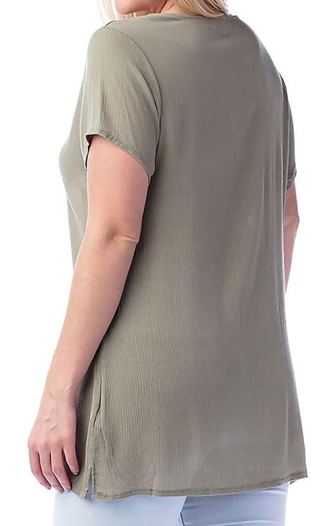 THE PERFECT ESCAPE TOP EMBROIDERED IN SAGE -sale [product vendor] - Life is Chic Boutique