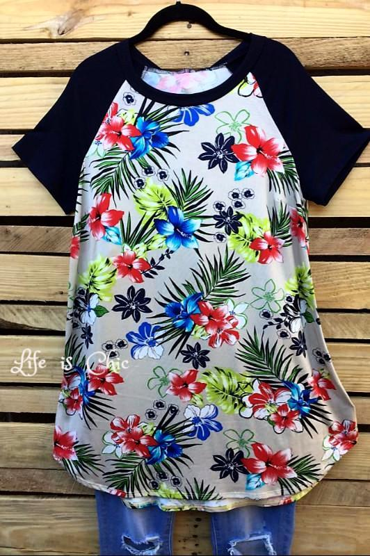 HAWAIIAN ISLAND BEAUTY T-TUNIC IN GRAY MIX - sale [product vendor] - Life is Chic Boutique