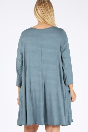 LOVE THIS FEELING CASUAL DRESS IN BLUE SPRUCE  SIZE 3X 4X 5X