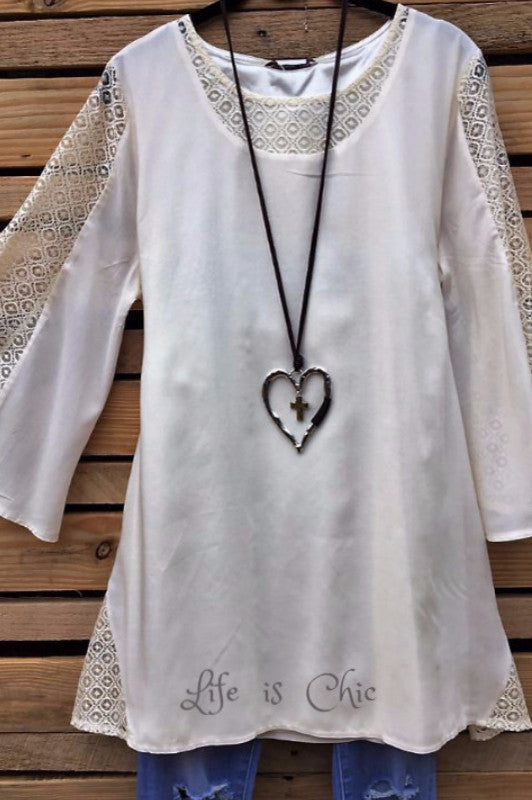 Darling Dreamer Lace Tunic - Vintage Cream [product vendor] - Life is Chic Boutique