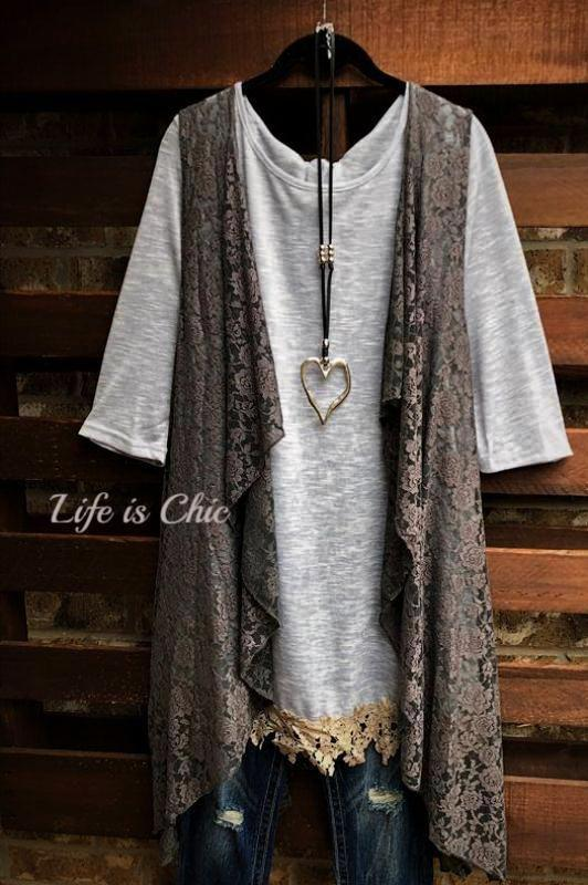 D'AMORE DREAM LACE VEST IN GRAY