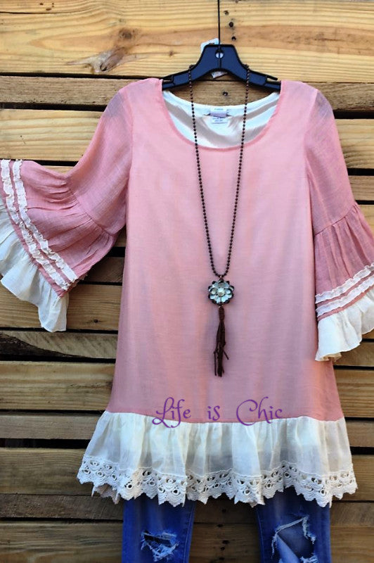 BOHEMIA WINDS TUNIC IN VINTAGE PINK [product vendor] - Life is Chic Boutique
