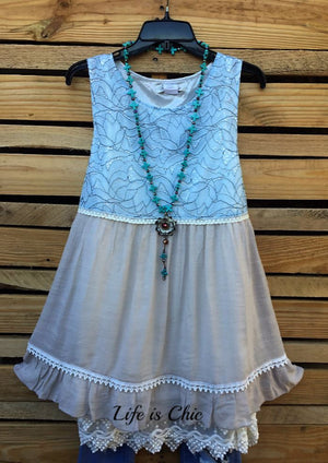 IN THIS MOMENT FOREVER LACE BABYDOLL LAYERING IN BLUE MIX - sale [product vendor] - Life is Chic Boutique