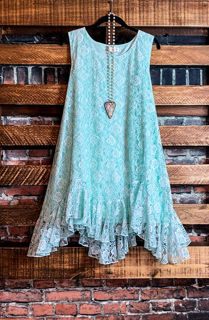 BEAUTIFUL MUSE LACE SLEEVELESS DRESS IN MINT