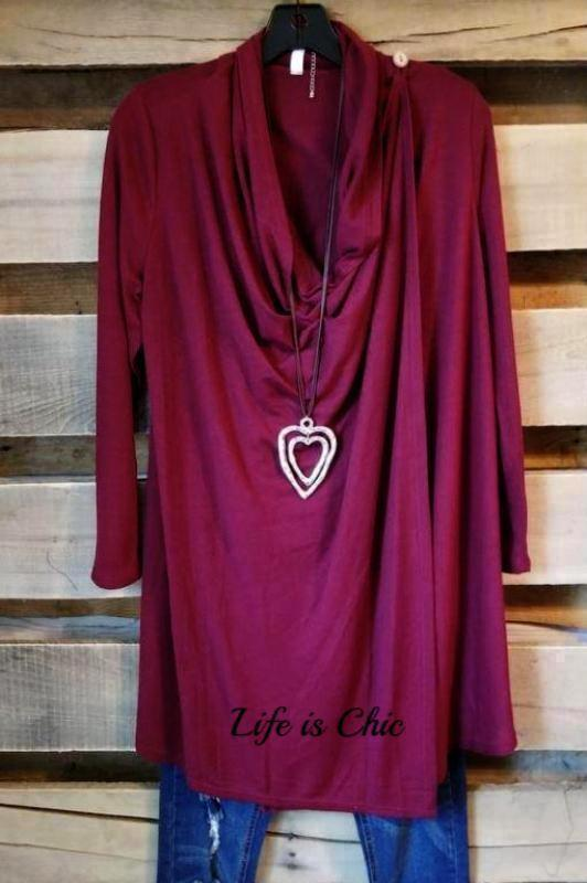 JUST LIKE THAT A CARDIGAN SWEATER IN BURGUNDY [product vendor] - Life is Chic Boutique